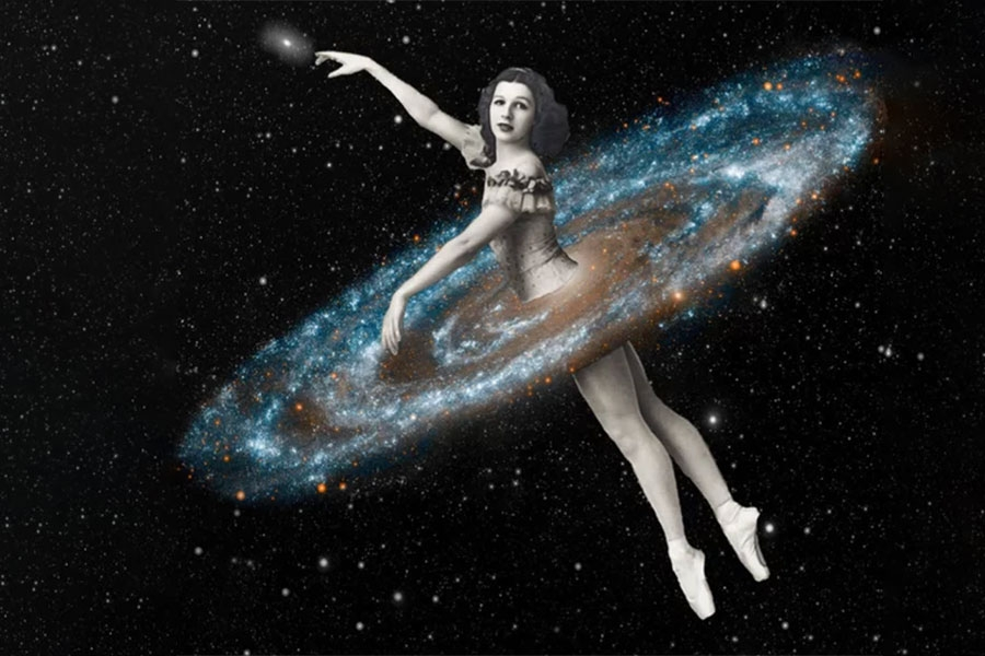 surrealist collage of a ballerina in space