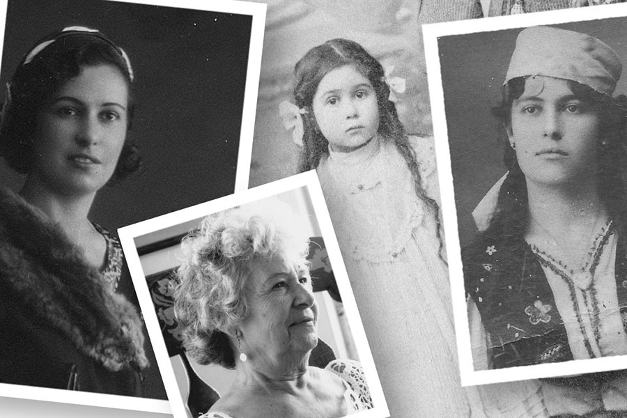 a pile of black and white photos of a woman throughout her life