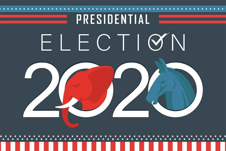 "text that says ""presidential election 2020"" with an illustration of red elephant and blue donkey"