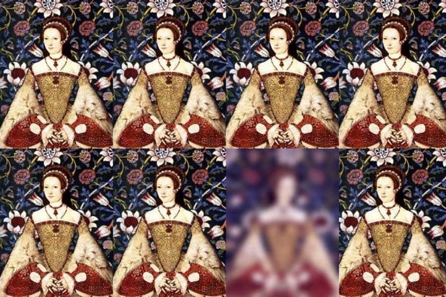 collage of a renaissance painting of a woman dressed in fancy clothes. one of the collaged images is blurred out