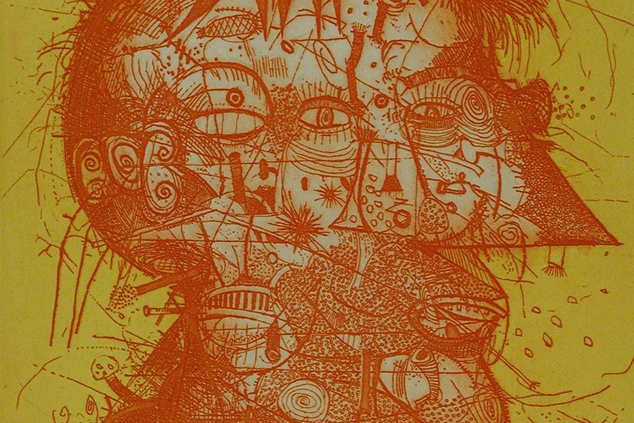 Sergio Gonzalez-Tornero's etching of person's head in red against yellow backdrop
