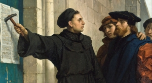 Artist's depiction of Martin Luther nailing the 95 theses