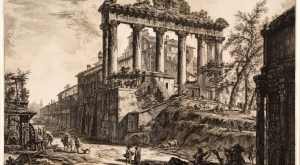 Giovanni Battista Piranesi, Temple of Saturn, from the series Vedute di Roma, 1774, etching, Davis Museum 1999.0.409