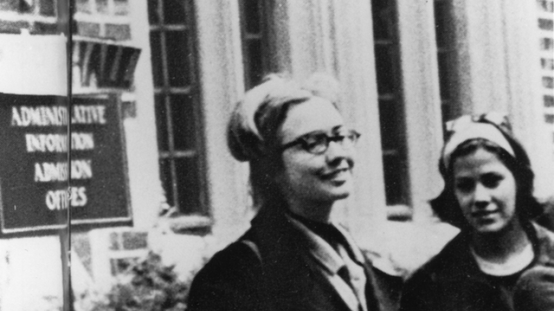 Hillary Rodham '69 in front of Green Hall at Wellesley College