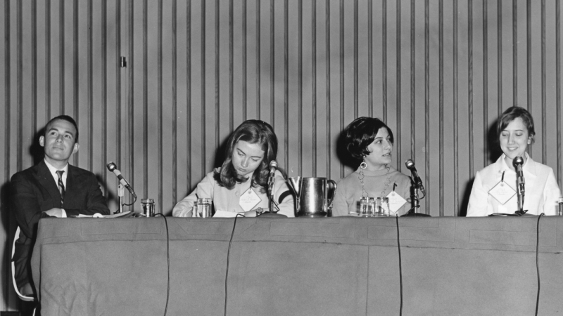 Hillary Rodham '69 joins fellow students and a faculty member at the 1968 Wellesley College Alumnae Council Student Panel