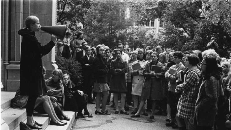 Hillary Rodham '69 attends a student rally at Wellesley College, October 8, 1968