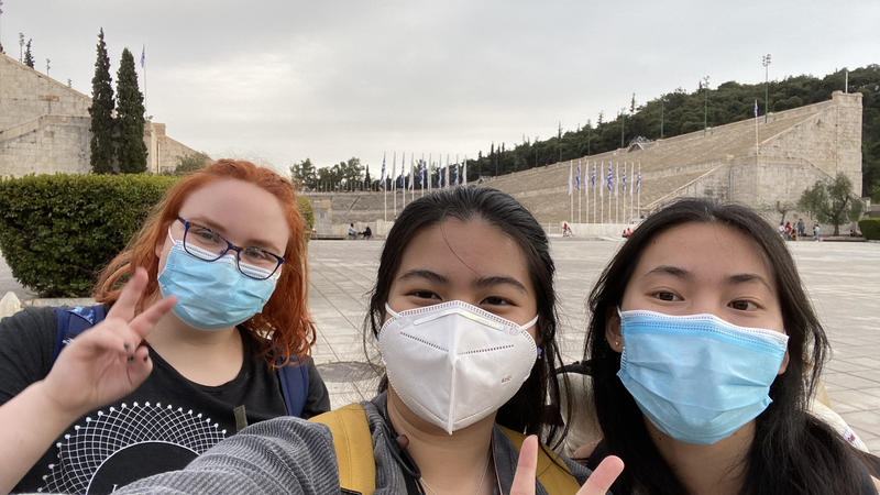 students at Olympic Stadium in Athens