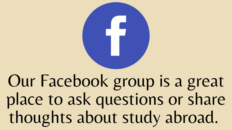 """Facebook logo above text: """"Our Facebook group is a great place to ask questions or share thoughts about study abroad. """""""