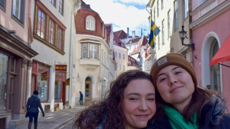 two choir students on a trip
