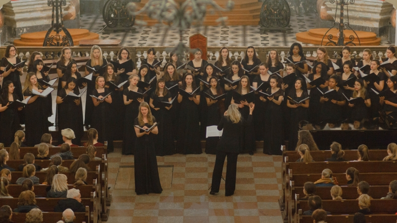 aerial shot of choir performing in church