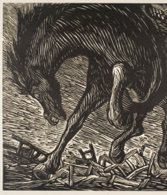 Leopoldo Méndez, El Bruto (The Brute) from the series Rio Escondido (Hidden River), 1948. Linocut, Gift of Margaret S. Travers (Margaret Strauss, Class of 1966), 2001.67.1