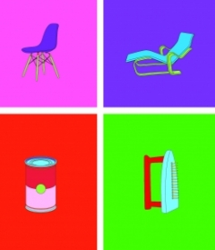 Michael Craig-Martin, Art & Design, 2012 Set of 10 screen prints on Somerset Tub-Sized Satin 410gsm paper Paper and image 100.0 x 45.3 cm (each) .  Gift of Mary Norton '54, Judith Phinney '63, Joan Hass '66, Susie Bennet '59, Nan Tull '59, Christine Reese '88, Cathryn Griffith '88, Fran Schulman '75, and Janet Diederichs '50 in honor of the Friends of Art 50th Anniversary Trip to London.