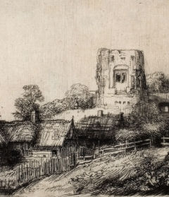 Rembrandt van Rijn, Landscape with Square Tower, 1650. Etching and drypoint, 3 1/4 in x 6 1/8 in. Gift of the Class of 1900 in memory of Mrs. J. Sewall Naylor (Edith Moore, Class of 1914). 1960.4