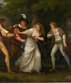 """Angelica Kauffmann, Valentine, Proteus, Sylvia and Giulia in the Forest (Scene from """"Two Gentlemen of Verona"""" Act V, Scene IV), 1788. Oil on canvas. Museum purchase in memory of Winifred Herman Friedman (Class of 1945). 1976.34"""