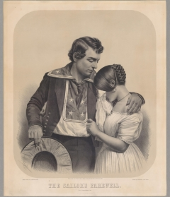Leopold Grozelier, after a daguerreotype by Loyal Moss Ives, The Sailor's Farewell, 1856. Tinted lithograph. American Antiquarian Society.