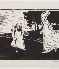 Emil Nolde, Prinzess and Bettler (Princess and Beggar), 1906. Woodcut in black ink on wove paper. 8 5/8 in. x 9 in. Museum purchase, The Class of 1947 Acquisition Fund, 2013.119