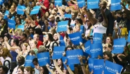 Volunteers at an Obama for America rally