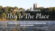 A picture of the campus from across Lake Waban introduces the full length campaign film