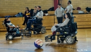 A photo of the Boston Brakers power wheelchair soccer team in action