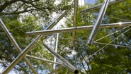 Photo of Kenneth Snelson's Sculpture Mozart III on the Wellesley College campus