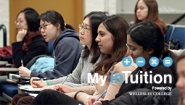 Photo of students in a classroom with My inTuition graphic overlay