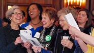 Alumnae together at the 125th anniversary of the Chicago Wellesley Club on April 2, 2016