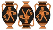 An orange and black drawing of a Grecian urn with a modern day scene