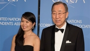 Amy Yee '96 with Ban Ki Moon at UNCA Awards