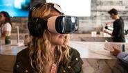 Young woman uses virtual reality googles