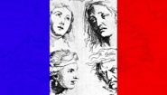 graphic of French flag with 17th century images