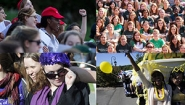 four images of students sporting their class color