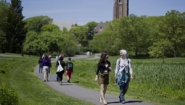 students walk to and from Wellesley's academic quad for classes