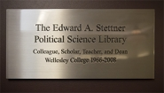 Plaque: The Edward A. Stettner Political Science Library