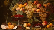 """Still Life with Fruit"", Roesen, Severin (attributed to) (German), 1850-60, Oil on canvas mounted on panel, canvas: 30 1/2 in. x 40 1/2 in. (77.5 cm x 102.9 cm), Gift of Mr. and Mrs. Eliot Stetson Knowles."