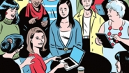 cartoon showing woman at laptop surrounded by supportive women