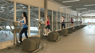 architects rendering of new workout space with people on eliptical machines