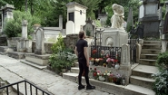 scene from van der Werve's film, he stands at Chopin's grave