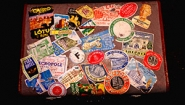 Vintage suitcase with travel stickers from all over the world