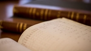 close up of old grade ledgers from Wellesley archives