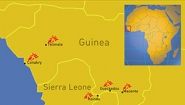 Map of areas in Guinea and Sierra Leone with Ebola sites highlighted