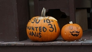 "pumpkins decorated with ""haunted haus"" written on one"