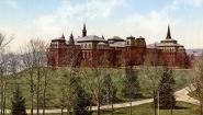 colorized photo of College Hall before the fire