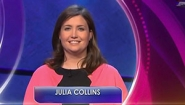 screenshot of Julia Collins '05 on set of Jeopardy