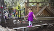 4 year old girl walks balance beam in playground