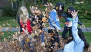 five students play in a pile of fallen leaves
