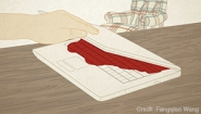 Drawing of a hand opening a laptop. A pool of red, suggesting blood, seeps out of the screen