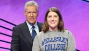 Laura Rigge with Jeopardy host Alex Trebek