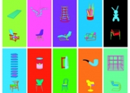 A set of 10 colorful screen prints by Michael Craig-Martin for exhibit on display at the Davis Museum.