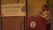 Robbin Chapman speaks at The World of Wellesley MLK Breakfast on January 19.