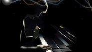 silhouette of piano player